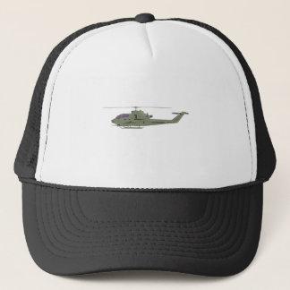 Apache-Hubschrauber im Seitenansichtprofil Truckerkappe