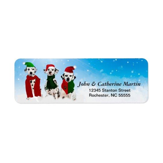 APAL - Weihnachtsdalmatinische Hunde im Schnee Kleiner Adressaufkleber
