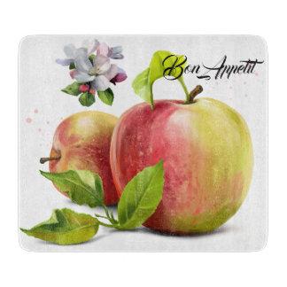 Äpfel, Blumen und spritzt Schneidebrett