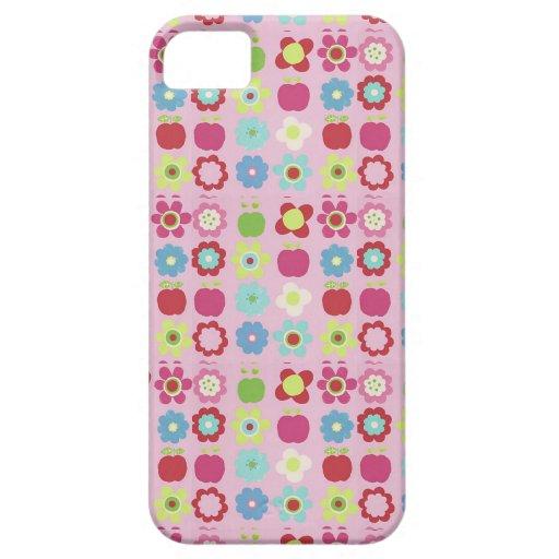 Äpfel u. Blumen auf rosa iPhone 5 Fall iPhone 5 Cover