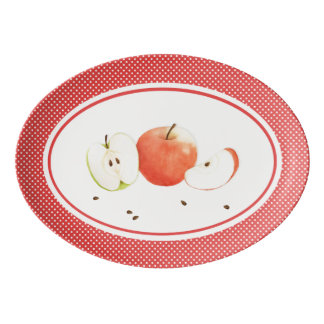 Äpfel u. Tupfen-Porzellan-Coupé-Servierplatte Porzellan Servierplatte