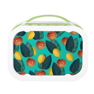 Äpfel und Zitronen aquamarin Brotdose