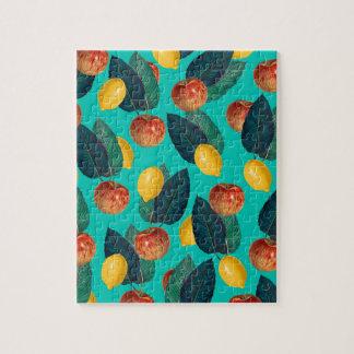 Äpfel und Zitronen aquamarin Puzzle