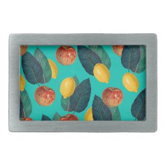 Äpfel und Zitronen aquamarin Rechteckige Gürtelschnalle