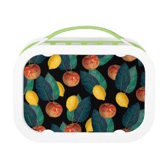Äpfel und Zitronenschwarzes Brotdose