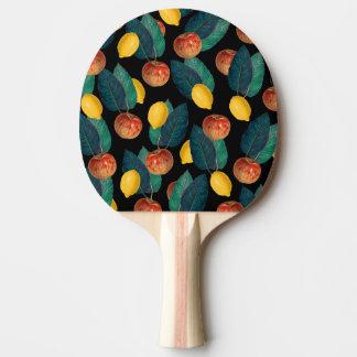Äpfel und Zitronenschwarzes Tischtennis Schläger