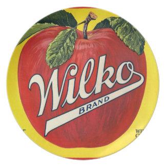 Apfel-Vintage Frucht-Aufkleber-Platte KRW Wilko Teller