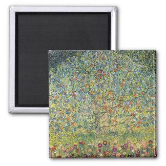 Apfelbaum durch Gustav Klimt, Vintage Kunst Quadratischer Magnet