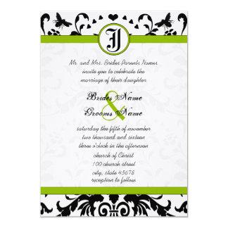 Apfelgrüne schwarze Blasen-Bienen-Damast-Hochzeit 12,7 X 17,8 Cm Einladungskarte