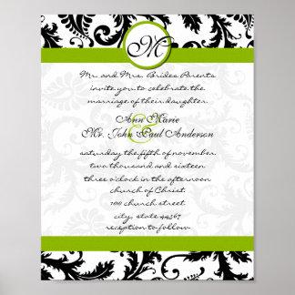 Apfelgrüne schwarze Damast-Hochzeits-Einladung Poster