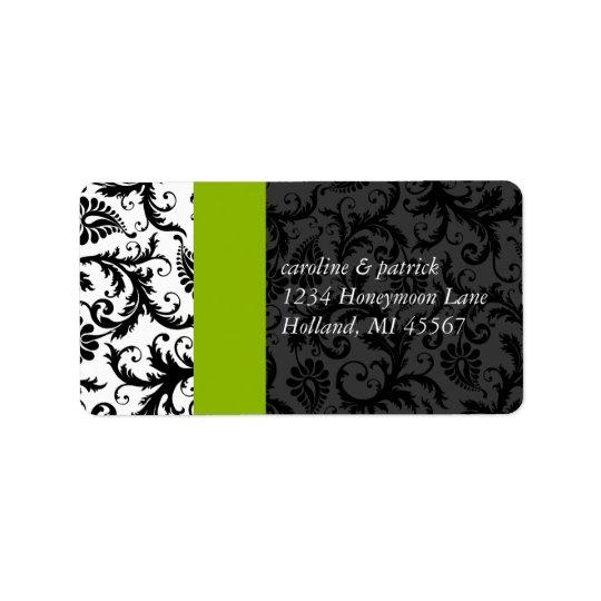 Apfelgrüne u. schwarze Damast-Adressen-Etiketten - Adressetikett