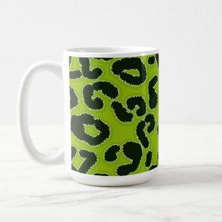 Apfelgrüner Leopard-Tierdruck Kaffeetasse