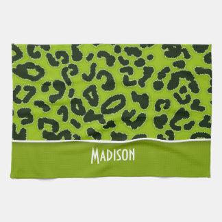 Apfelgrüner Leopard-Tierdruck; Personalisiert Handtücher