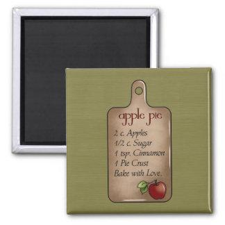 Apfelkuchen backen mit Liebe-Kühlschrankmagnet Quadratischer Magnet