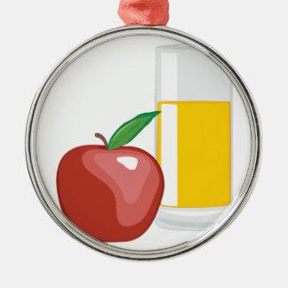Apfelsaft Rundes Silberfarbenes Ornament