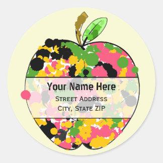 Apple-Adressen-Etikett - multi Farbfarben-Spritzer Runde Aufkleber