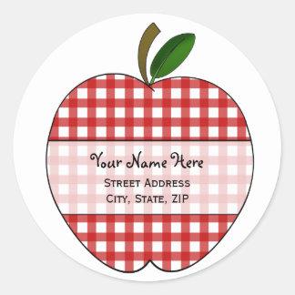 Apple-Adressen-Etikett - roter Gingham Runder Aufkleber