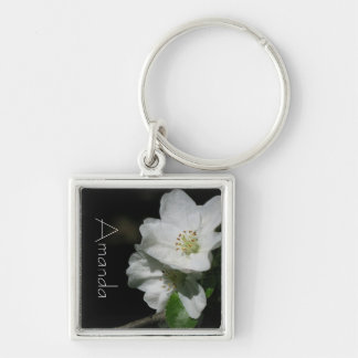 Apple-Blüte - personalisierter W.-Name - Silberfarbener Quadratischer Schlüsselanhänger