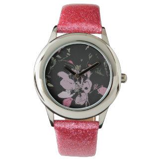 Apple-Blüten-Glitter-Uhr, rosa Glitter-Bügel Handuhr