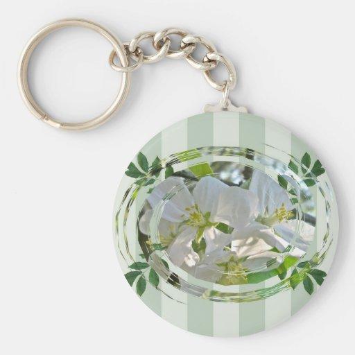 Apple-Blüten-grüne Streifen Keychain Schlüsselanhänger