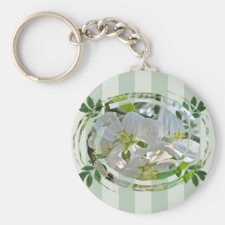 Apple-Blüten-grüne Streifen Keychain Standard Runder Schlüsselanhänger