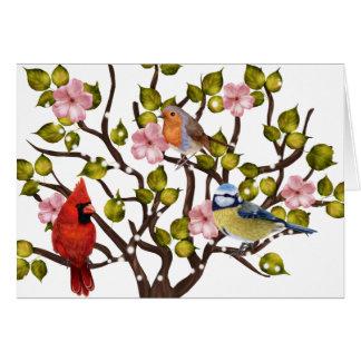 Apple-Blüten- und Liedvogel-jeder Anlass notecard Karte