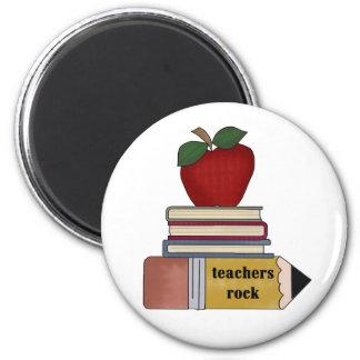 Apple, Bücher, Bleistift-Lehrer-Felsen Runder Magnet 5,7 Cm