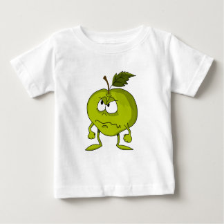 Apple-Cartooncharakter mit einem traurigen Baby T-shirt
