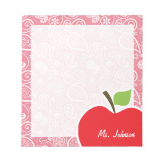 Apple erröten an rosa Paisley Schmierblock