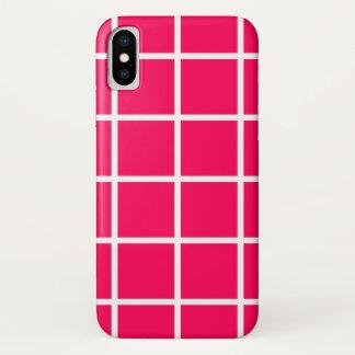 """Apple iPhone X Fall """"Gitter-"""" - Fuchsie/Weiß iPhone X Hülle"""