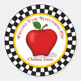 Apple u. Schachbrett-Küchen-runde Aufkleber