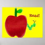 Apple und Bücherwurm Plakatdruck