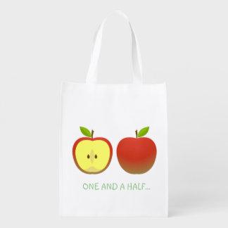 Apple und eine Hälfte Wiederverwendbare Einkaufstasche