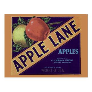 """Apple-Weg-"" Frucht-Kisten-Aufkleber-Postkarte Postkarte"