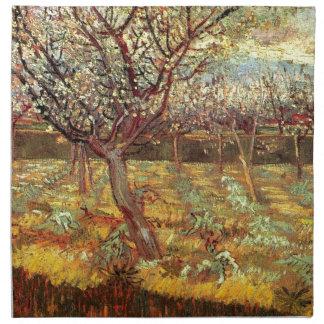Aprikosen-Bäume in der Blüte durch Van Gogh Stoffserviette