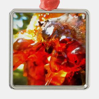 Aprikosen-Harz abstrakt Quadratisches Silberfarbenes Ornament