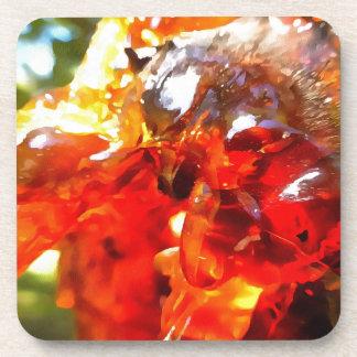 Aprikosen-Harz abstrakt Untersetzer