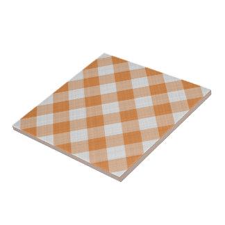Aprikosen-orange Land-Hütten-Gingham-Streifen Fliese