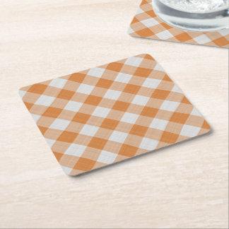 Aprikosen-orange Land-Hütten-Gingham-Streifen Rechteckiger Pappuntersetzer