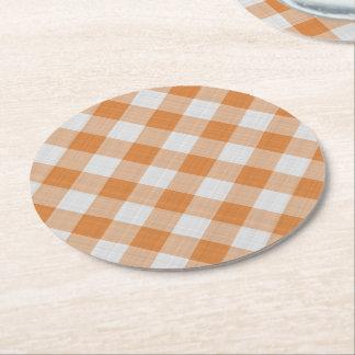 Aprikosen-orange Land-Hütten-Gingham-Streifen Runder Pappuntersetzer