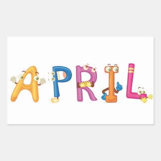 April-Aufkleber Rechteckiger Aufkleber