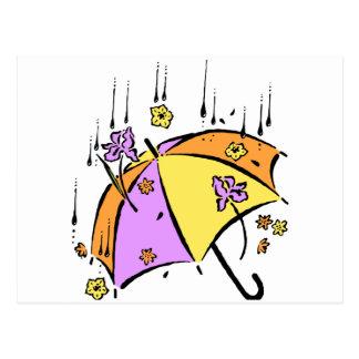 April duscht Regenschirm Postkarte