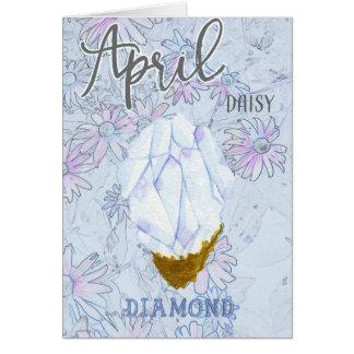 Aprilgänseblümchen-und -diamant-Geburtstag blau Karte