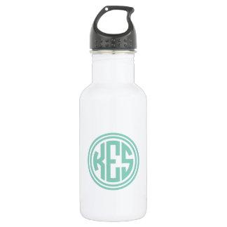 Aqua-adrettes Kreis-Monogramm Trinkflasche