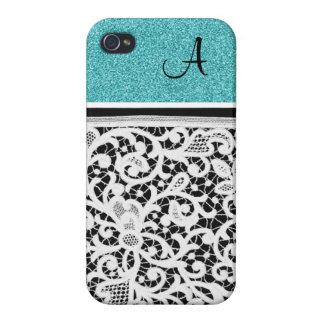 Aqua-aquamarine schwarze Vintage Spitze-Girly iPhone 4 Schutzhüllen