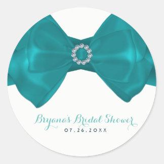 Aqua-aquamarines Band u. Diamant-Brautparty Runder Aufkleber