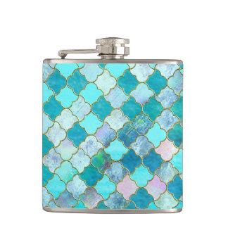 Aqua-aquamarines Goldorientalisches marokkanisches Flachmann