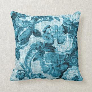 Aqua-aquamarines Türkis-Blau Vintages BlumenToile Kissen