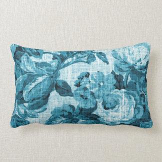 Aqua-aquamarines Türkis-Blau Vintages BlumenToile Lendenkissen