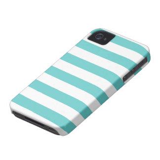 Aqua-aquamarines und weißes gestreiftes Muster iPhone 4 Hüllen